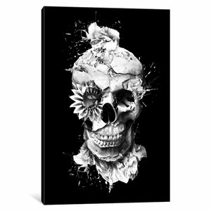 Floral Skull Series 'Skeleton' Graphic Art Print on Canvas by East Urban Home