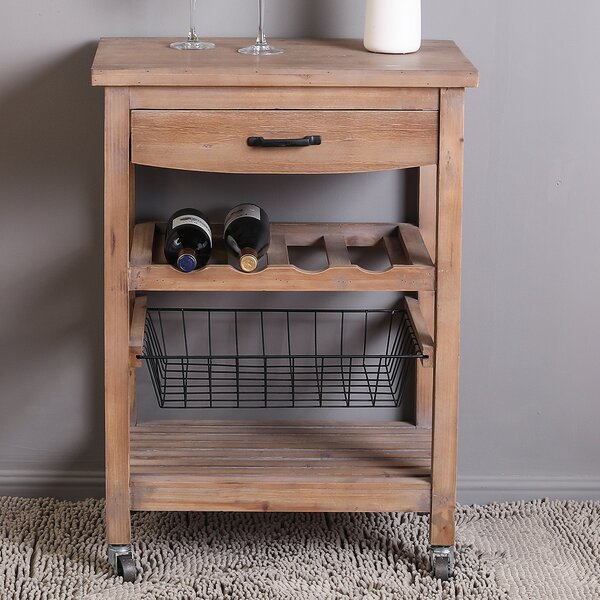 Billings Mobile Wine Bar Cart by Millwood Pines Millwood Pines