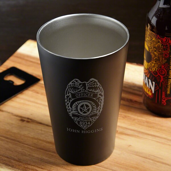 Police Badge Engraved 16 oz. Stainless Steel Pint Glass by Home Wet Bar