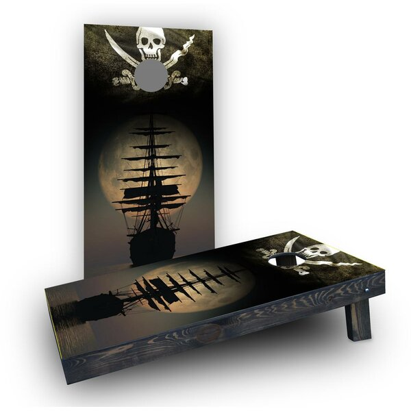 Pirate Ship on the Ocean (Set of 2) by Custom Cornhole Boards