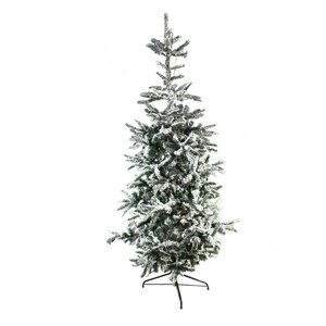 Pre-Lit Noble 7.5' Green Fir Flocked Artificial Christmas Tree with 250 Warm Clear LED Lights with Stand
