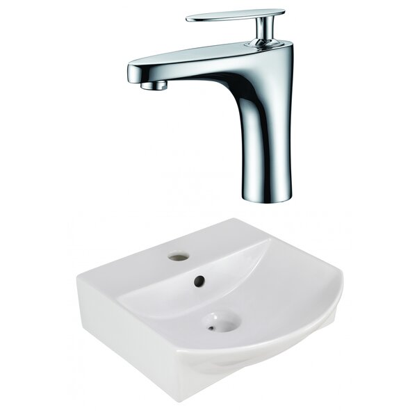 Ceramic 14 Wall Mount Bathroom Sink with Faucet and Overflow
