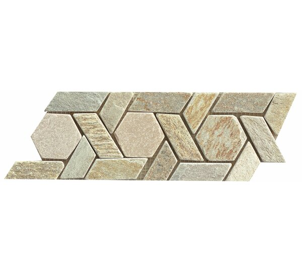 12 x 4.75 Stone Mosaic Liner Tile in Amber Gold by Bedrosians