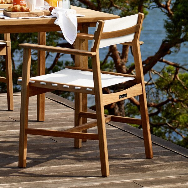 Carnegie Teak Patio Dining Chair by Rosecliff Heights