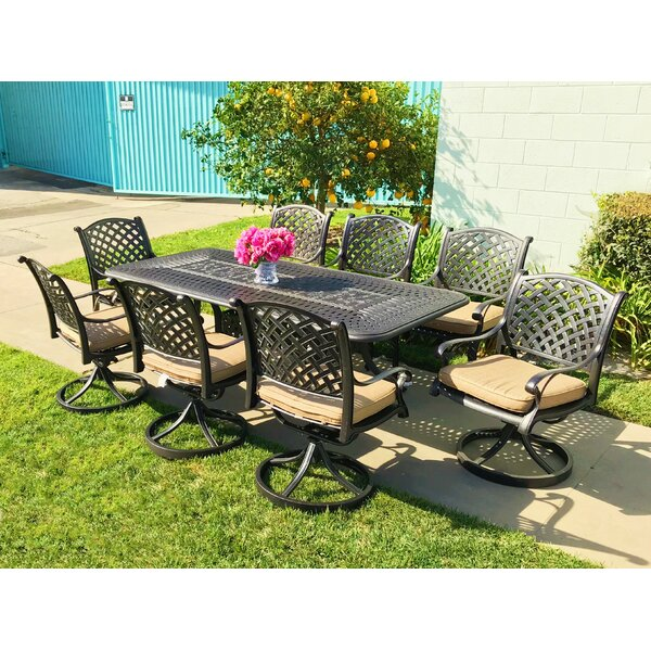 Wachtel 9 Piece Sunbrella Dining Set with Cushions by Darby Home Co
