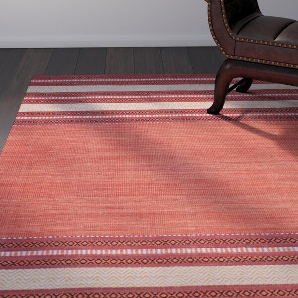 Bokara Hills Hand-Woven Red/Ivory Area Rug by World Menagerie