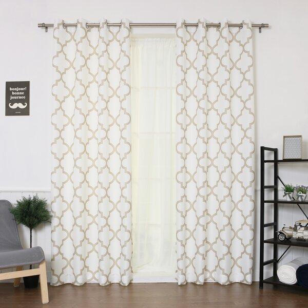 Arrey Basketweave Geometric Room Darkening Grommet Curtain Panel (Set of 2) by Mercury Row
