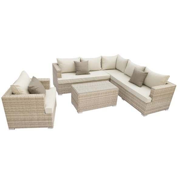 Nowak 4 Piece Rattan Sectional Seating Group with Cushions by Willa Arlo Interiors