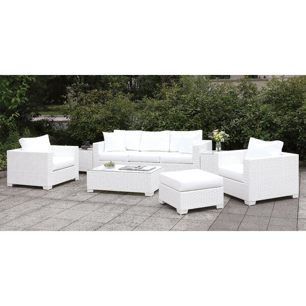 Kuhn 5 Piece Rattan Sofa Seating Group with Cushions by Rosecliff Heights