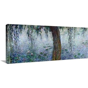 'Waterlilies: Morning with Weeping Willows' by Claude Monet Painting Print on Canvas by Great Big Canvas