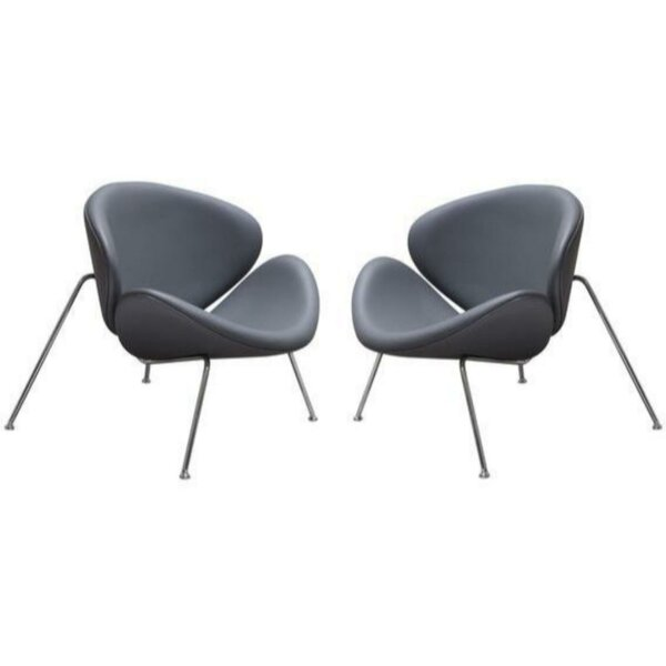 Juna Leather Upholstered Papasan Chair (Set of 2) by Orren Ellis