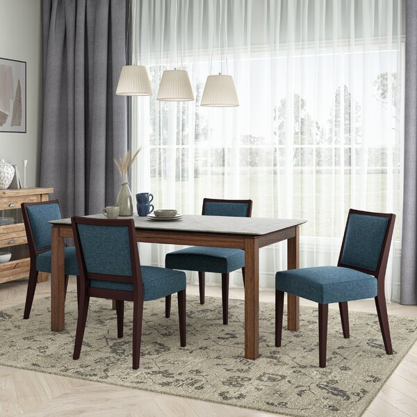 Weston 5-Piece Smart Top Dining Table & Upholstered Armless Dining Chairs By Ebern Designs