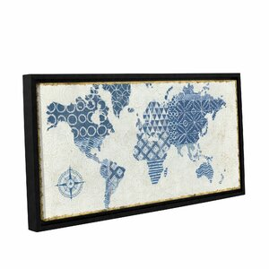Indigo Gild Map Maki Framed Graphic Art on Wrapped Canvas by Bungalow Rose