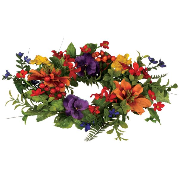 Mixed Flower Polyester Wreath by August Grove