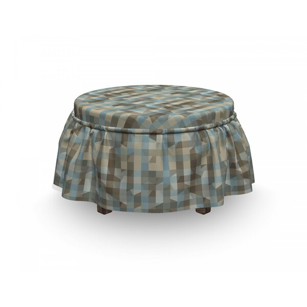 Geometric Soft Vertical Line Design 2 Piece Box Cushion Ottoman Slipcover Set By East Urban Home
