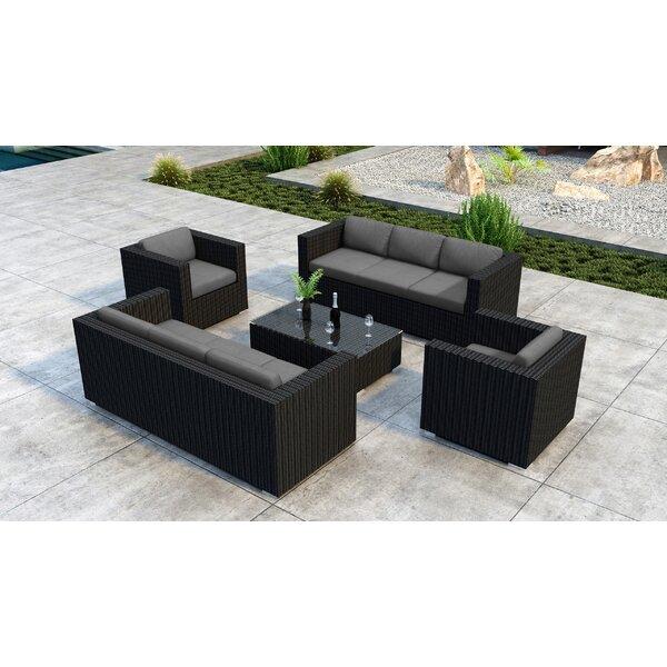 Glendale 5 Piece Rattan Sunbrella Sofa Seating Group with Sunbrella Cushion by Everly Quinn