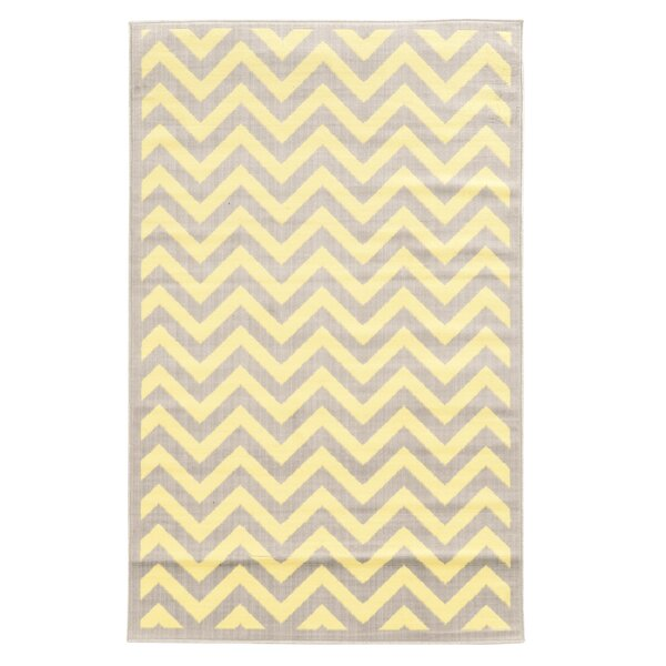Bruns Chevron Grey/Cream Area Rug by Ebern Designs