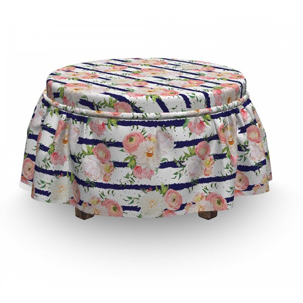 English Garden Stripes Ottoman Slipcover (Set Of 2) By East Urban Home
