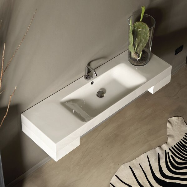 Cento Ceramic 56 Wall Mount Bathroom Sink with Overflow by WS Bath Collections