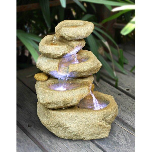 Zenvida Resin Sandstone Tabletop Waterfall Fountain With LED Light | Wayfair