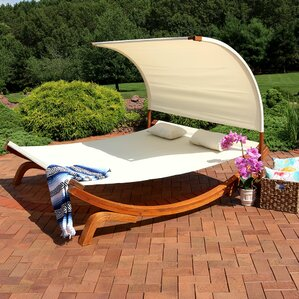 Barry Outdoor Wood Double Chaise Lounge With Cushion
