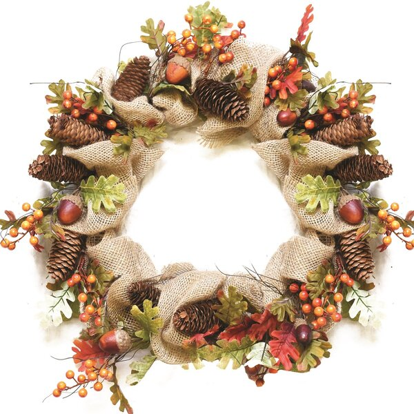 Autumn Harvest 18 Artificial Berry, Leaves, Acorns, Pinecones and Burlap Wreath by Northlight Seasonal