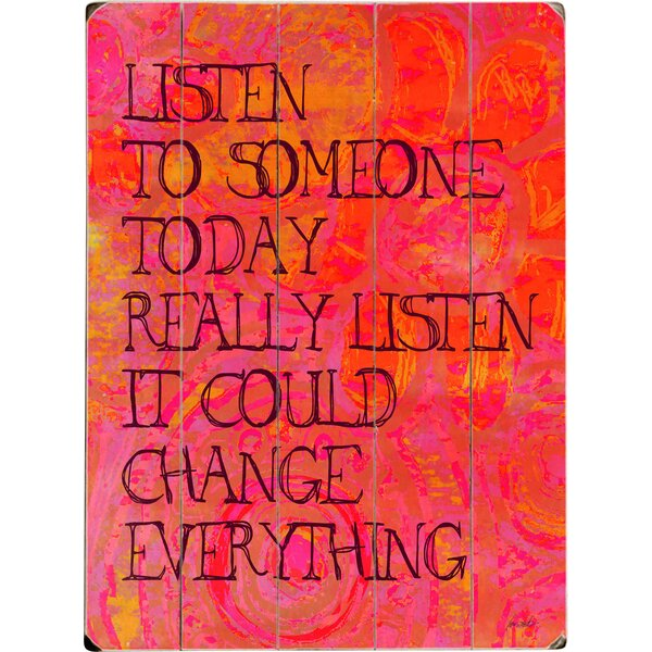 Listen to Someone Graphic Art Print Multi-Piece Image on Wood by Artehouse LLC