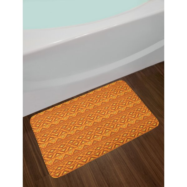 Ethnic Pale Orange Burgundy Yellow Orange Bath Rug by East Urban Home
