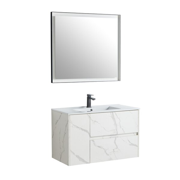 Bhavik 35 Wall-Mounted Single Bathroom Vanity Set with Mirror
