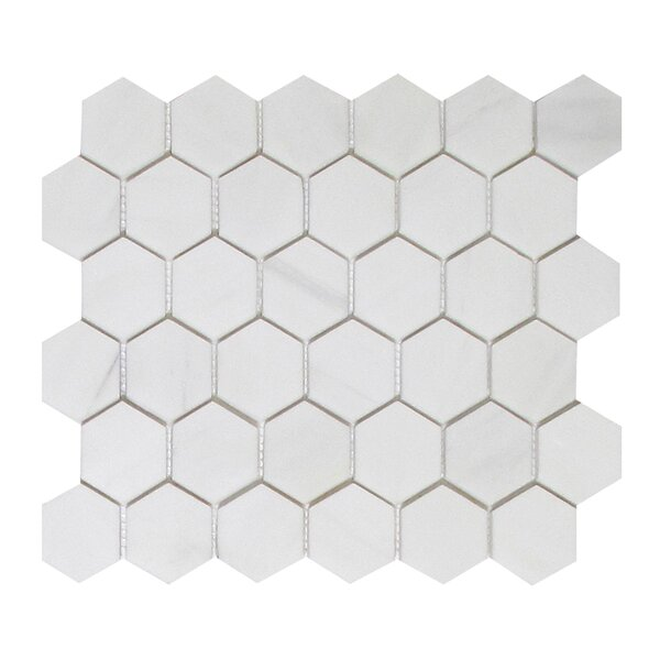 Soft Touch Hexagon 2 x 2 Marble Mosaic Tile in White by Seven Seas