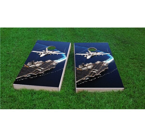 Jet Flying Over Aircraft Carrier Cornhole Game Set by Custom Cornhole Boards