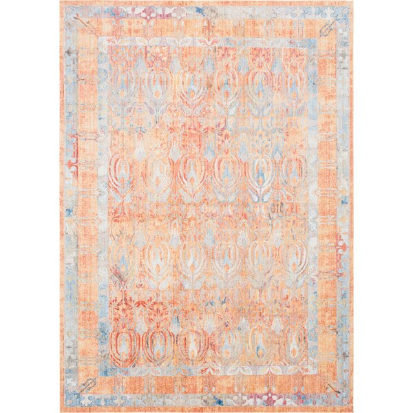 Gomez Orange/Blue Area Rug by Bungalow Rose