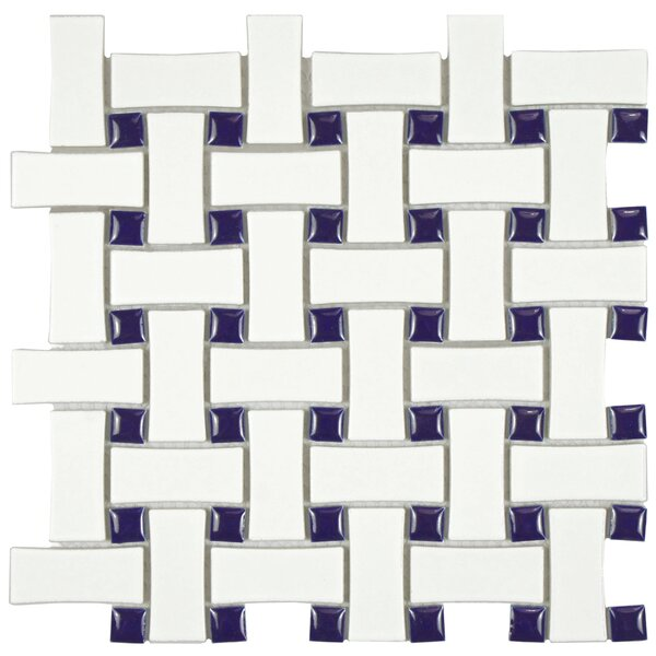 Retro Basket Weave Random Sized Porcelain Mosaic Tile in White and Cobalt by EliteTile