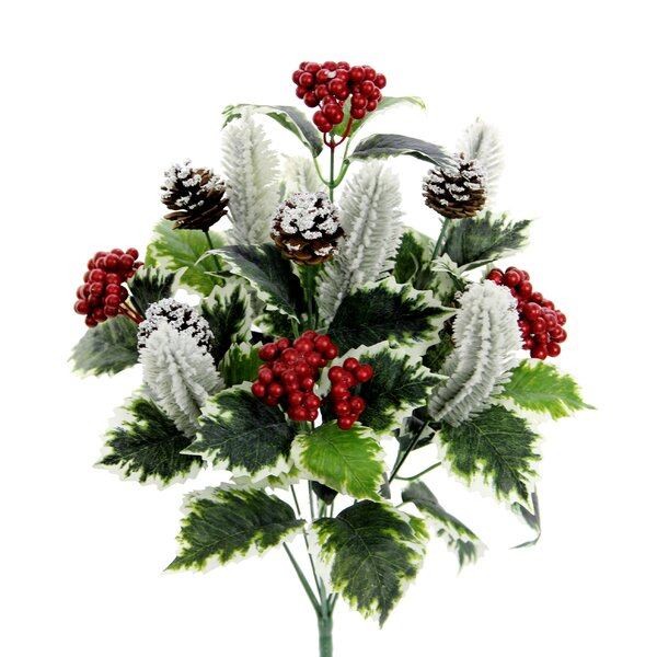 10 Stems Artificial Holly Leaves, Red Berries and Pinecone Snow Floral Arrangement by Loon Peak