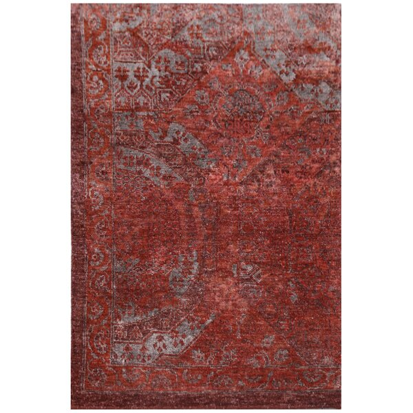Fine Mamluk Hand-Knotted Silk Red Area Rug by Exquisite Rugs