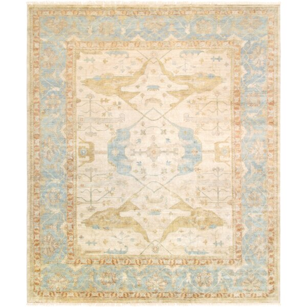 Oushak Hand-Knotted Wool Ivory/Light Blue Area Rug by Pasargad