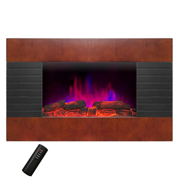 Pebble and Log Interchangeable Wall Mounted Electric Fireplace by AKDY
