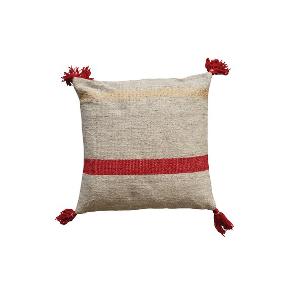 Eddins Square Stripped Wool Kilim Throw Pillow by Bungalow Rose