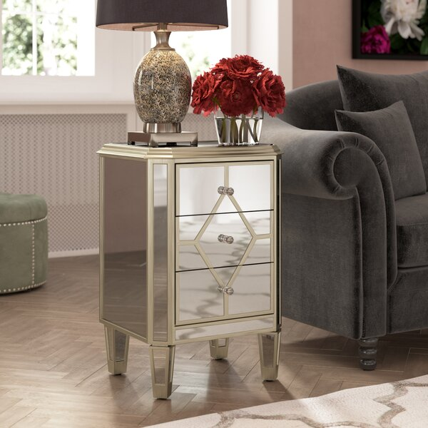 Thayer Mirrored 3 Drawer Cabinet by House of Hampton House of Hampton
