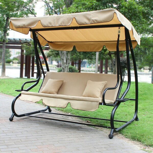 Canopy Awning Outdoor Bench Porch Swing with Stand by Homebeez