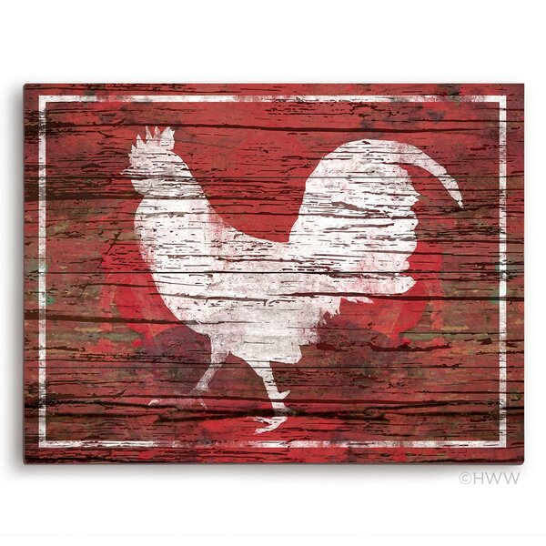 Distressed Red Wood Rooster Painting Print by Click Wall Art