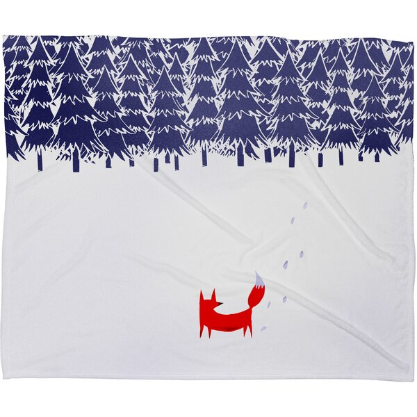 Robert Farkas Alone In The Forest Plush Fleece Throw Blanket by Deny Designs