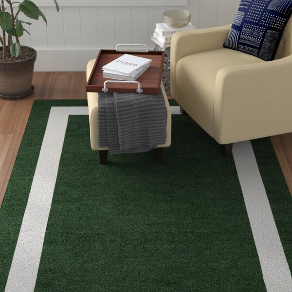 Bartolome Border Hand-Tufted Wool Dark Green/White Area Rug by Red Barrel Studio