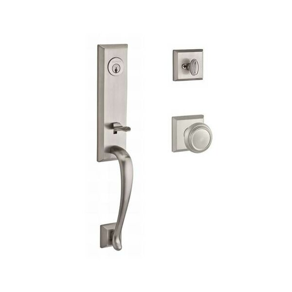 Del Mar Single Cylinder Handleset with Traditional Door Knob and Traditional Square Rose by Baldwin