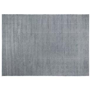Greek Key Hand Knotted Wool Silk Aqua Area Rug
