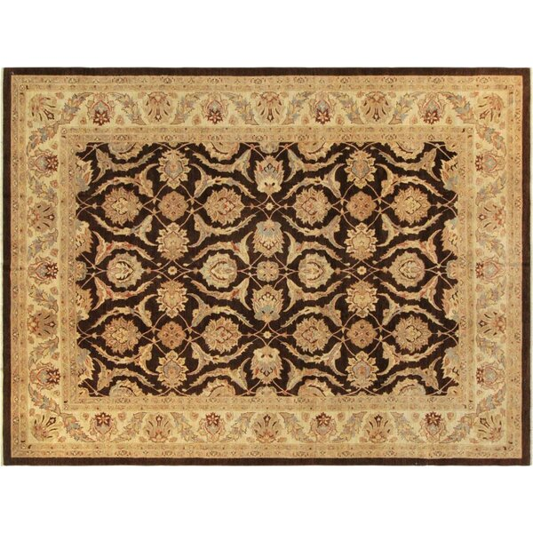 Xenos Hand-Knotted Rectangle Wool Brown/Ivory Area Rug by Astoria Grand