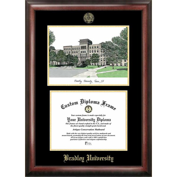 NCAA Bradley University Gold Embossed Diploma with Campus Images Lithograph Picture Frame by Campus Images