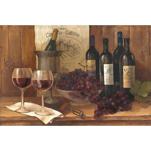 Vintage Wine Graphic Art on Wrapped Canvas by Charlton Home