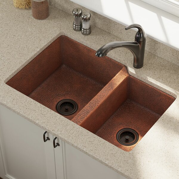 Copper 33 L x 22 W Double Basin Undermount Kitchen Sink With Drain Assembly