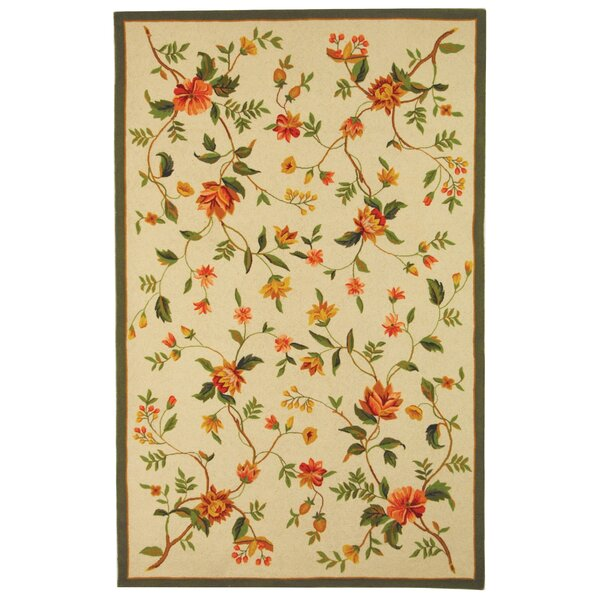 Kinchen Beige Floral Rug by August Grove